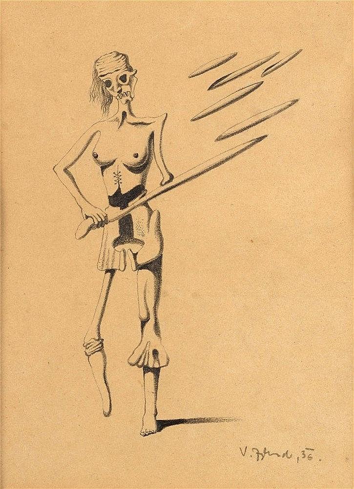 VACLAV ZYKMUND (1914-1984)  SQUELETTE, 1936  Mine de plomb sur papier