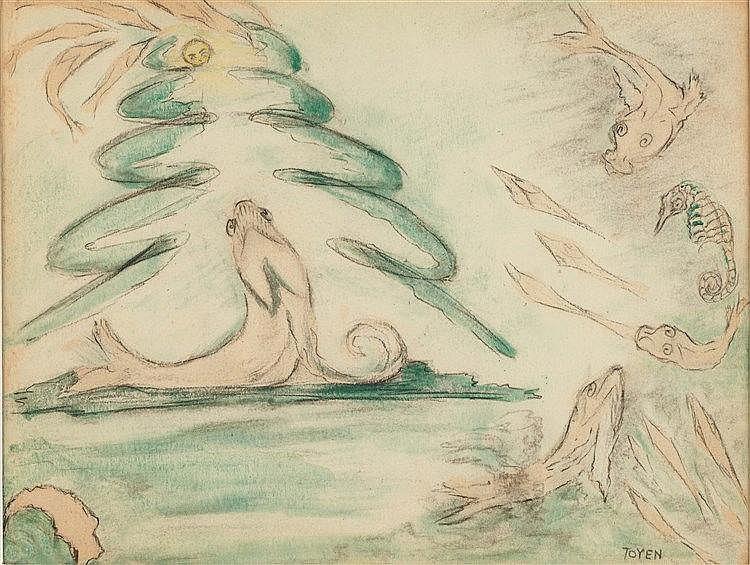 MARIE CERMINOVA TOYEN (1902-1980) UNIVERS MARIN Aquarelle et fusain su
