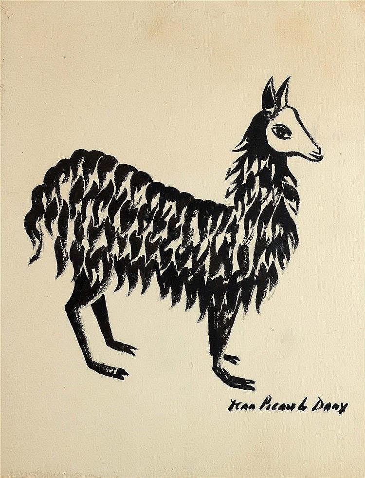 JEAN PICART LE DOUX (1902-1982) LAMA Encre de Chine sur papier Signée