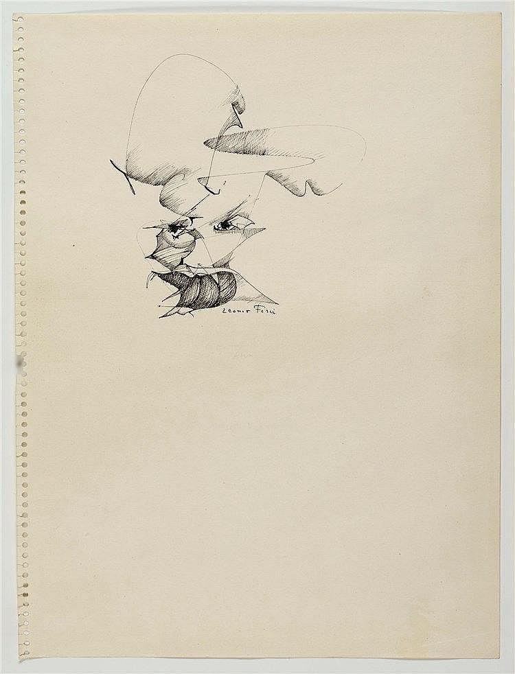 LEONOR FINI (1907-1996) VISAGE Encre de Chine sur papier Signée en bas