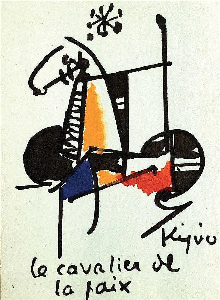 LADISLAS KIJNO (1921-2012) LE CAVALIER DE PAIX Gouache et encre de Chi
