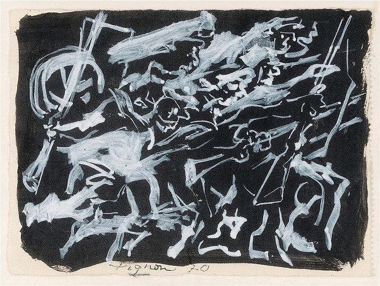 EDOUARD PIGNON (1905-1993)  LA PETITE BATAILLE NOIRE, 1970  Gouache su