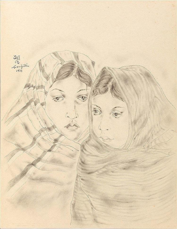 LEONARD TSUGUHARU FOUJITA (1886-1968)  FEMME ET JEUNE FILLE, 1933  Enc