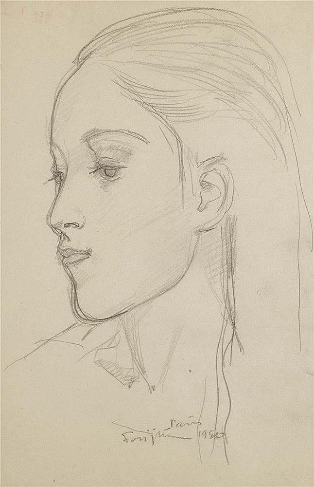 LEONARD TSUGUHARU FOUJITA (1886-1968) PORTRAIT DE JEUNE FILLE DE PROF