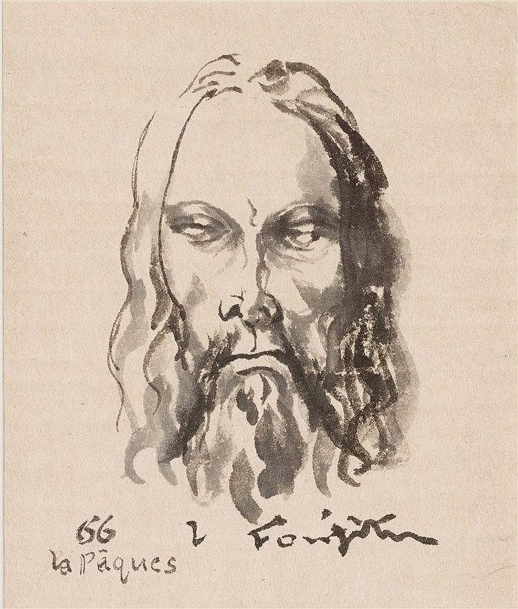 LEONARD TSUGUHARU FOUJITA (1886-1968)  TETE DE CHRIST,1966  Encre de C