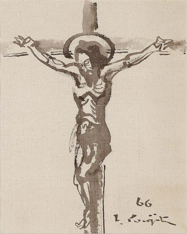LEONARD TSUGUHARU FOUJITA (1886-1968)  CHRIST EN CROIX,1966  Encre de