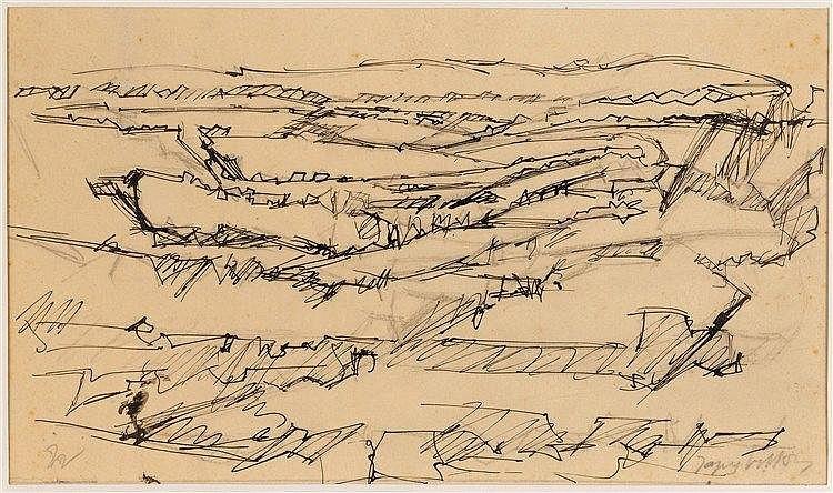JACQUES VILLON (1875-1963) PAYSAGE Encre sur papier Signée en bas à dr