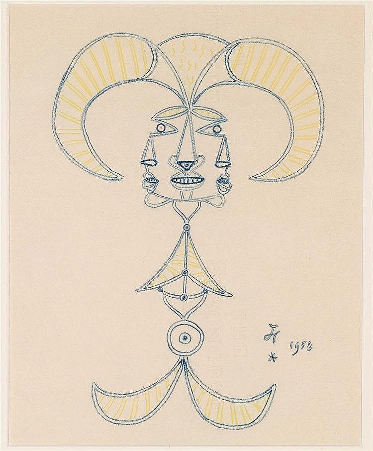JEAN COCTEAU (1899-1963)  MASQUE, 1958  Crayons gras de couleur sur pa