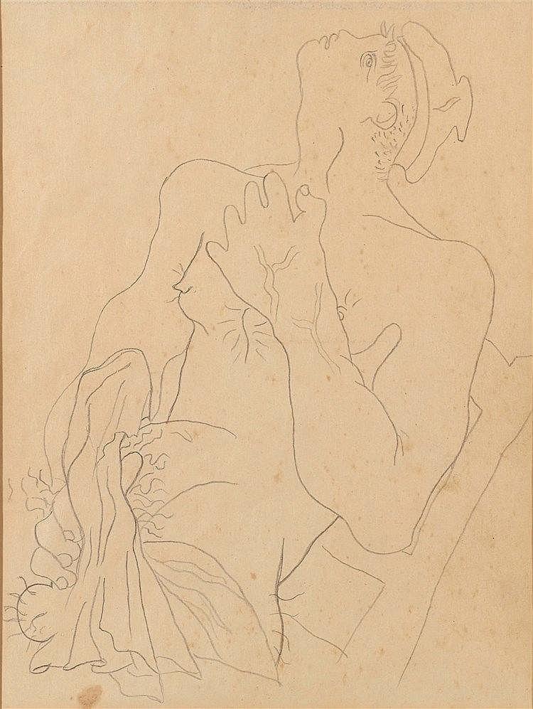 JEAN COCTEAU (1889-1963) PORTRAIT DE MARIN EROTIQUE Illustration pour