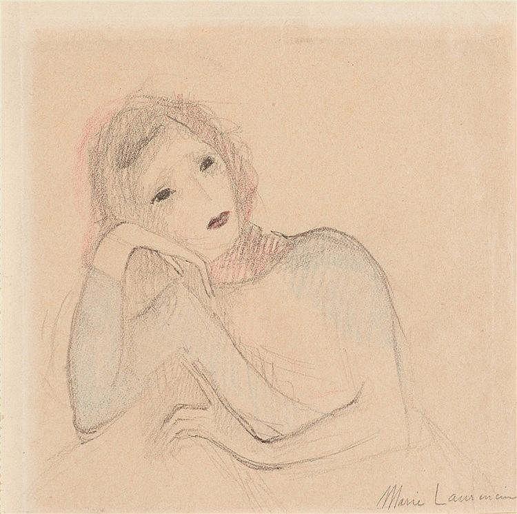 MARIE LAURENCIN (1883-1956) JEUNE FEMME ACCOUDEE Crayons de couleur et