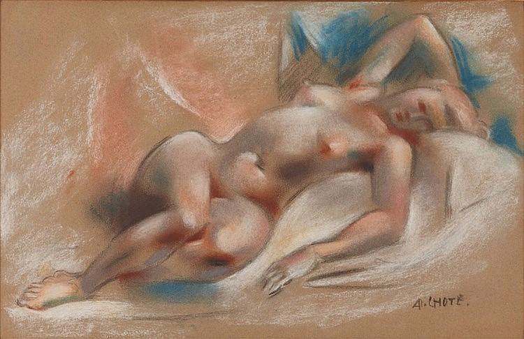 ANDRE LHOTE (1885-1962)  NU ALLONGE, CIRCA 1925  Fusain et pastel sur