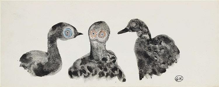 GEORGES HUGNET (1906-1974) OISEAUX Gouache et encre sur papier Monogra