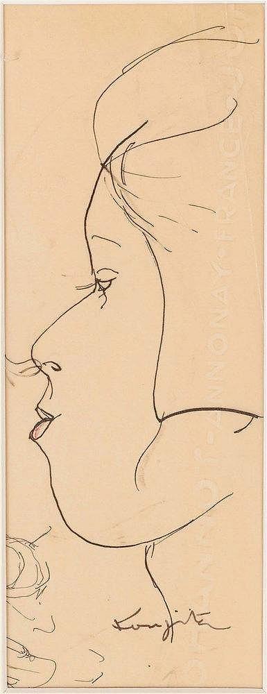 LEONARD TSUGUHARU FOUJITA (1886-1968) PORTRAIT DE JAPONAISE DE PROFIL