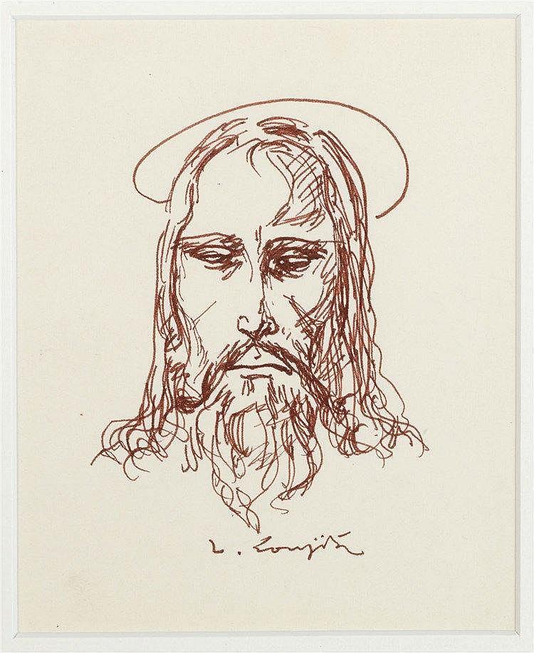 LEONARD TSUGUHARU FOUJITA (1886-1968) TETE DE CHRIST Encre brune sur p