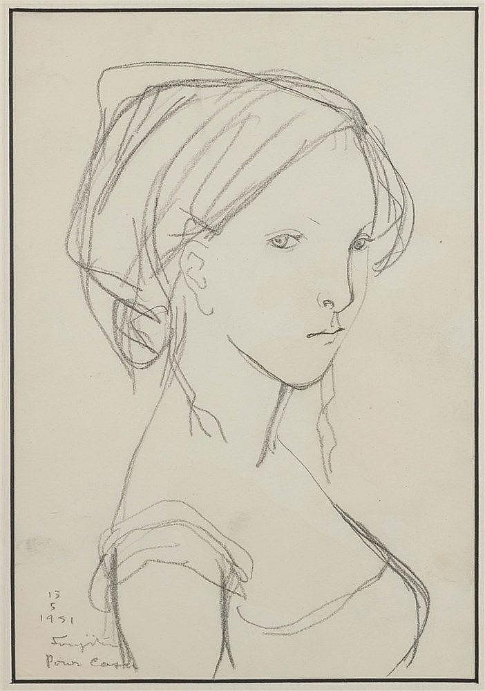 LEONARD TSUGUHARU FOUJITA (1886-1968) PORTRAIT DE JEUNE FILLE A LA COI