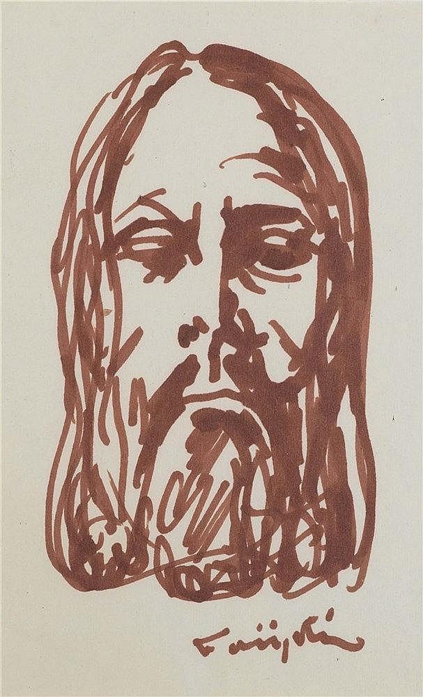 LEONARD TSUGUHARU FOUJITA (1886-1968) TETE DE CHRIST Encre brune au fe