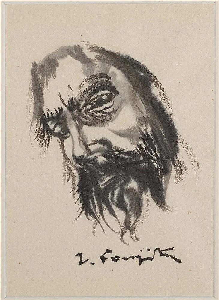 LEONARD TSUGUHARU FOUJITA (1886-1968) TETE DE CHRIST Encre de Chine et