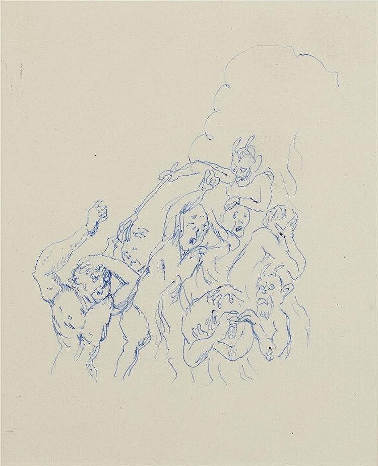 LEONARD TSUGUHARU FOUJITA (1886-1968) LES DAMNES Encre au stylo-bille