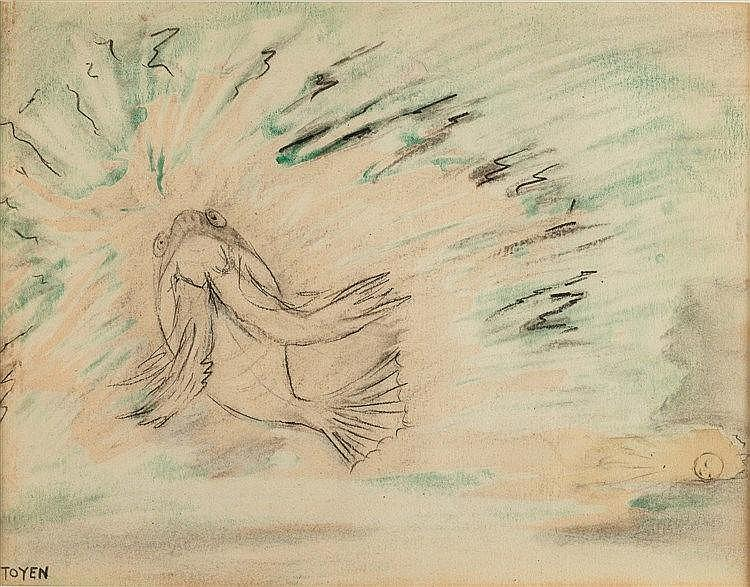 MARIE CERMINOVA TOYEN (1902-1980) POISSON ET REVE Aquarelle et fusain