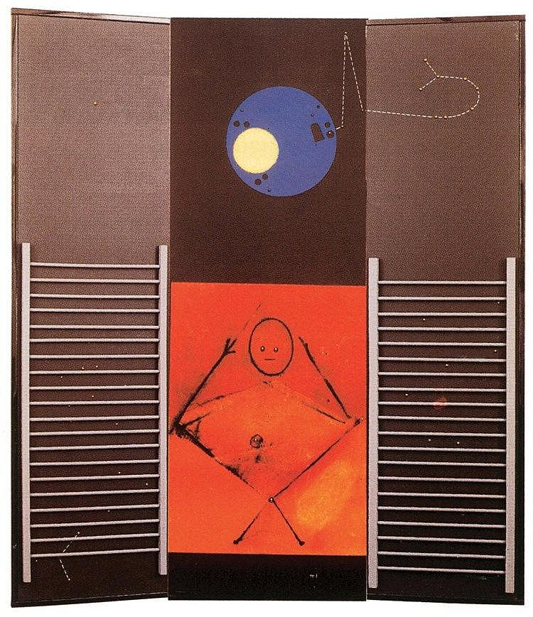 MAX ERNST (1891-1976)  LE GRAND IGNORANT, 1974   Paravent en bois pein
