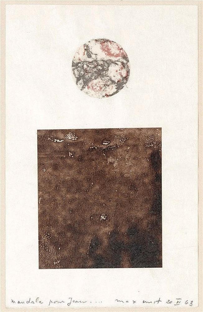 MAX ERNST (1891-1976)  MANDALE POUR JEAN, 1963   Frottage, aquarelle e