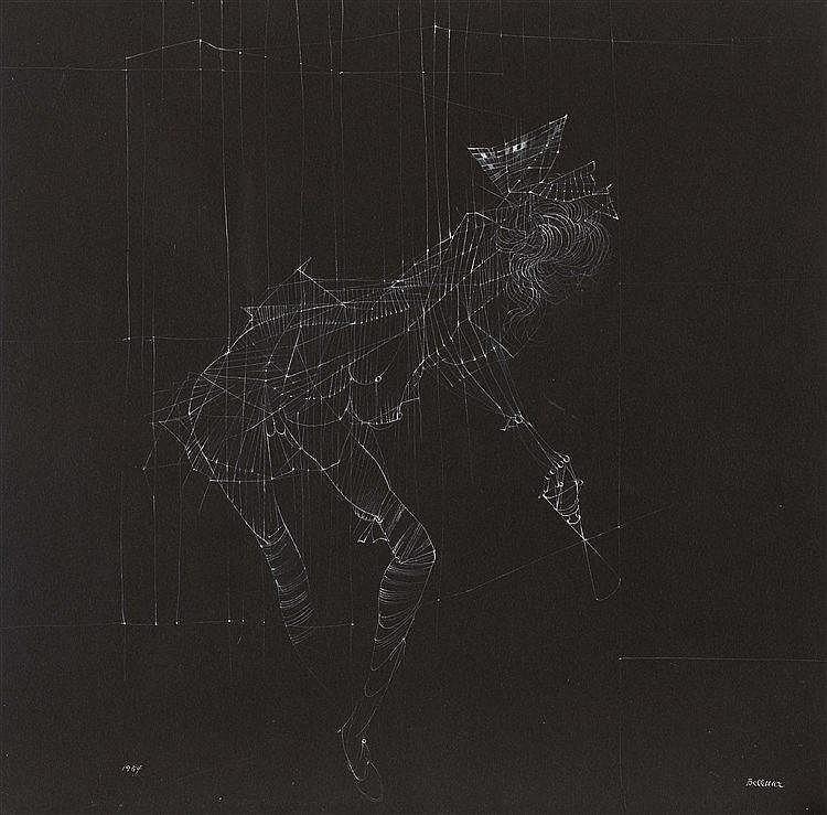 HANS BELLMER (1902-1975)  POUPEE DESARTICULEE, 1954  Gouache blanche s
