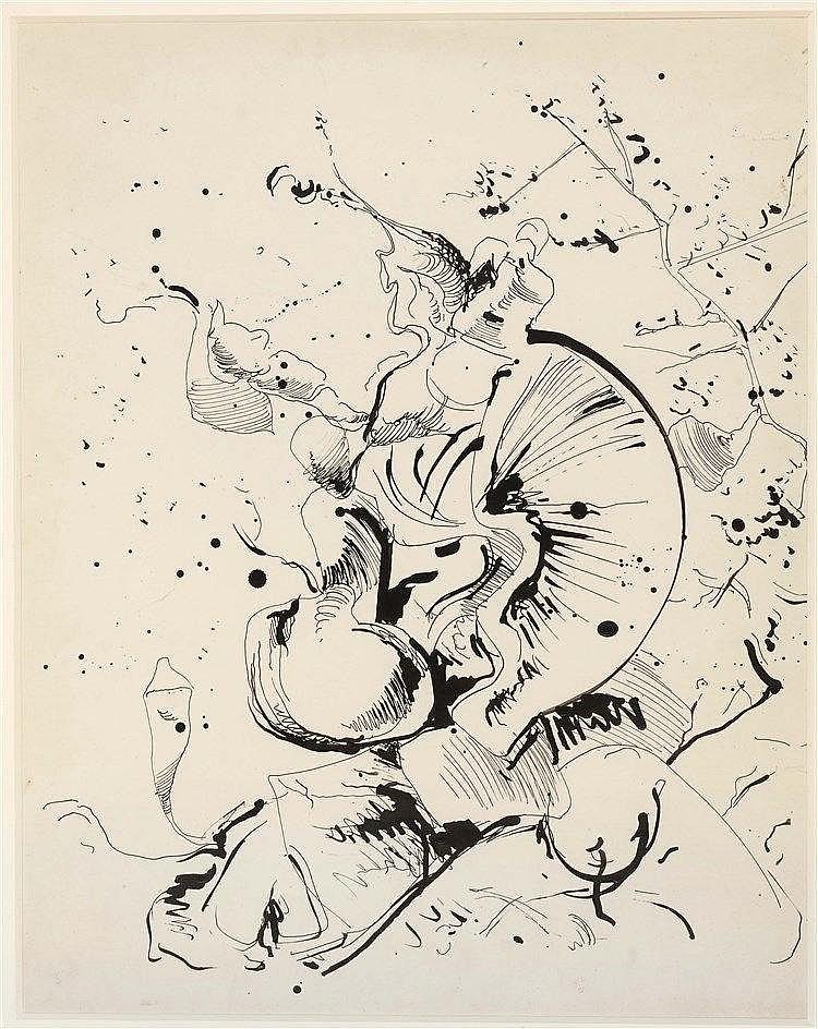 KURT SELIGMANN (1900-1962) EXPLOSION Encre de Chine sur papier 63 x 50