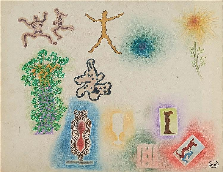 GEORGES HUGNET (1906-1974) COMPOSITION SURREALISTE Gouache et collages