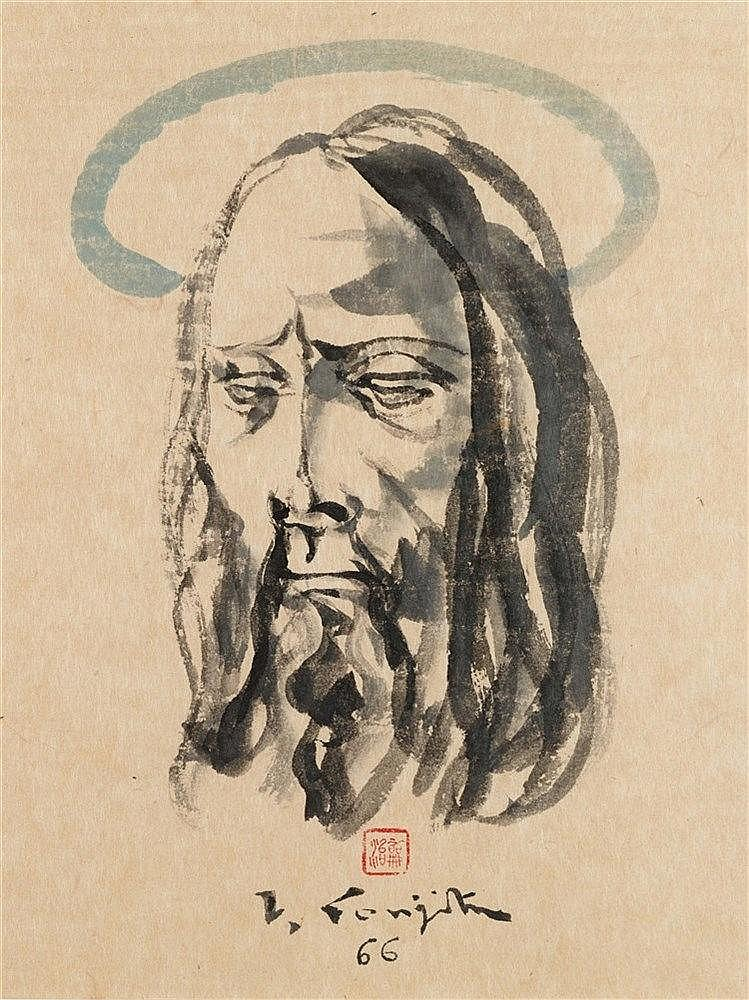LEONARD TSUGUHARU FOUJITA (1886-1968)  TETE DE CHRIST AUREOLEE, 1966