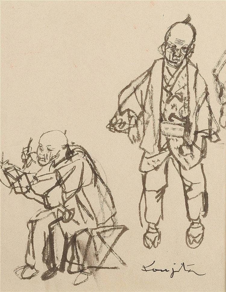 LEONARD TSUGUHARU FOUJITA (1886-1968) JAPONAIS DESSINANT Encre de Chin