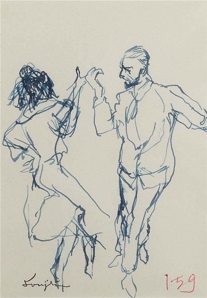 LEONARD TSUGUHARU FOUJITA (1886-1968) COUPLE DE DANSEURS Encre bleue s