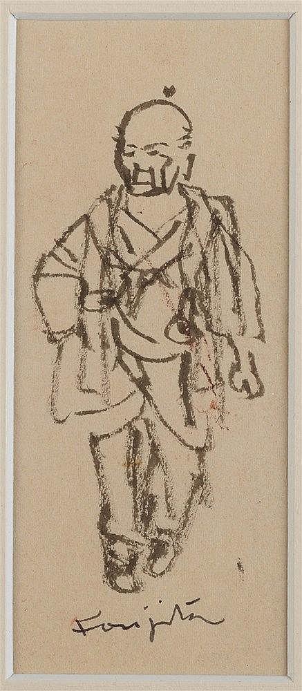 LEONARD TSUGUHARU FOUJITA (1886-1968) JAPONAIS MARCHANT Encre de Chine