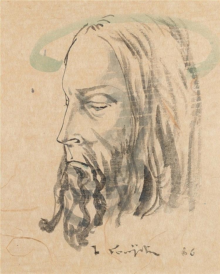 LEONARD TSUGUHARU FOUJITA (1886-1968)  TETE DE CHRIST AUREOLEE DE PROF