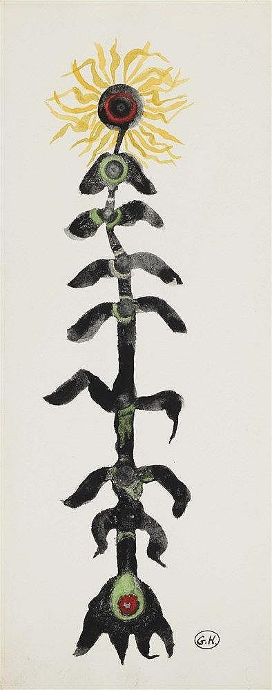 GEORGES HUGNET (1906-1974) TOURNESOL Gouache et encre sur papier Monog