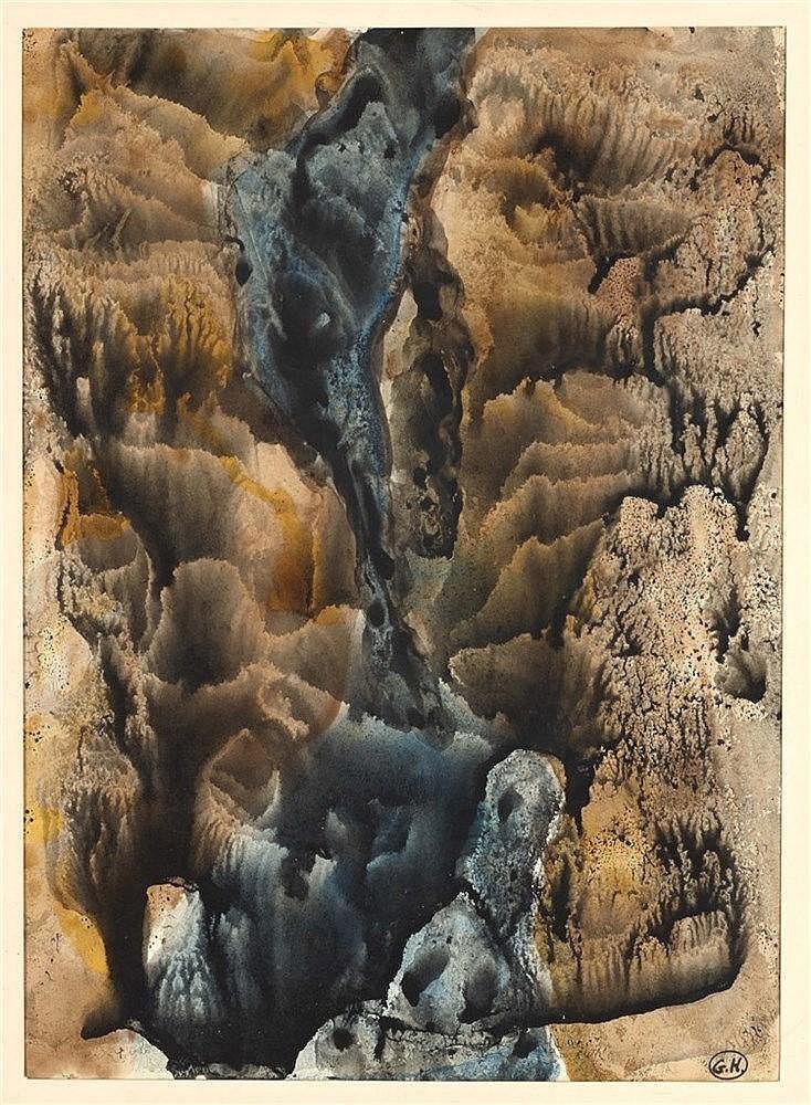 GEORGES HUGNET (1906-1974) DECALCOMANIE OCRE Encres de couleurs et gou
