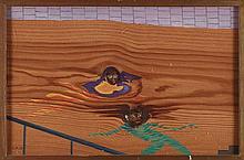 GEORGES HUGNET (1906-1974)  LE BAIN, 1956  Gouache sur panneau Monogra