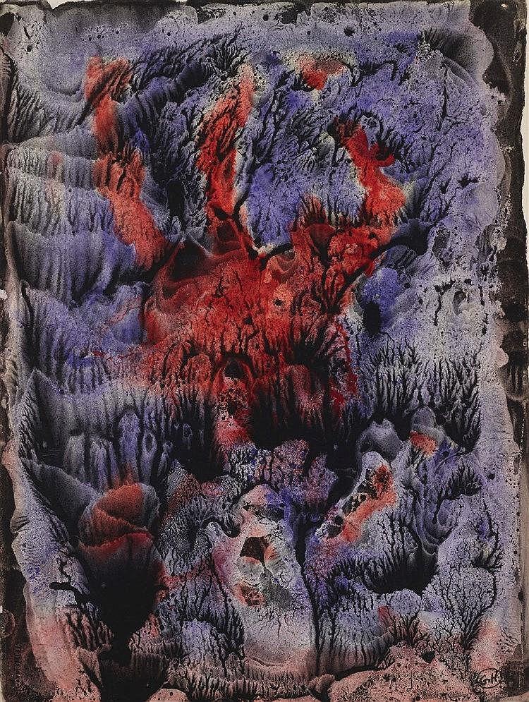 GEORGES HUGNET (1906-1974) DECALCOMANIE MAUVE Encres de couleurs et go