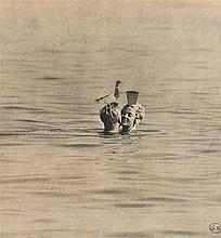 GEORGES HUGNET (1906-1974) COUPLE AU PIGEON Collage de photographies d