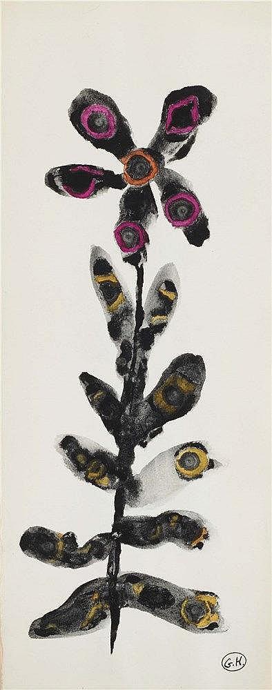 GEORGES HUGNET (1906-1974) FLEUR (ROSE ET ORANGE) Aquarelle et encre s