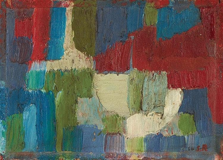 SERGE REZVANI (1928-2005)  COMPOSITION, 1956  Huile sur panneau Monogr