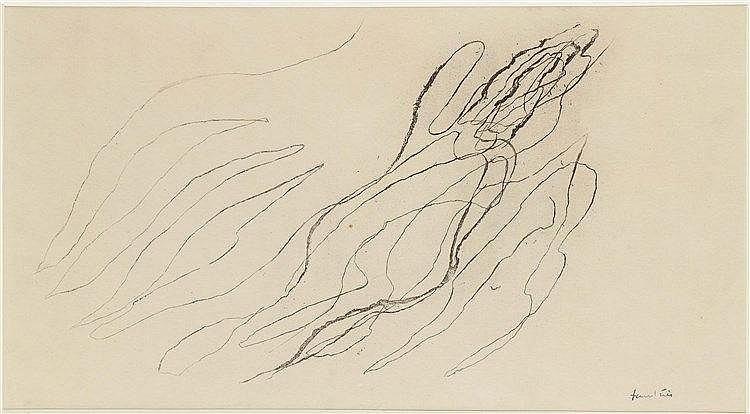 JEAN FAUTRIER (1898-1964) COMPOSITION Encre de Chine sur papier Signée