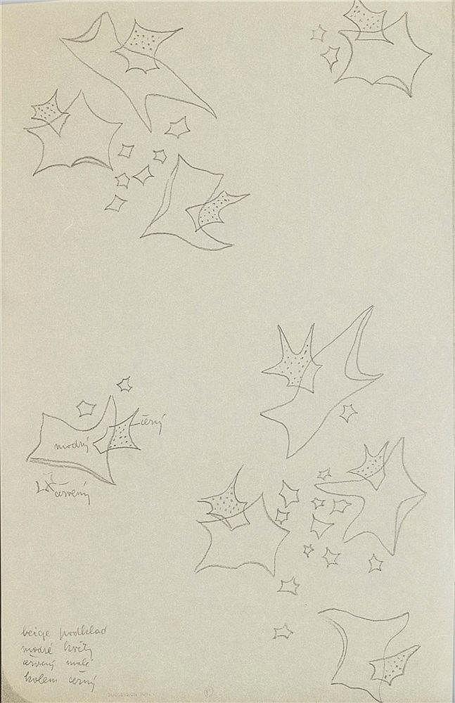 MARIE TOYEN (1902-1980) PROJET DE TISSUS Mine de plomb sur papier calq