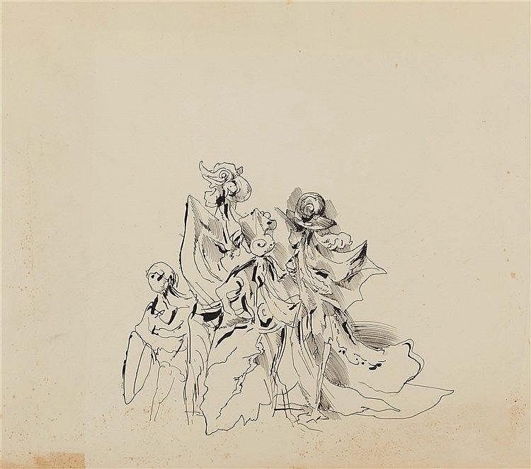 KURT SELIGMANN (1900-1962) PERSONNAGES Encre de Chine sur papier 64 x