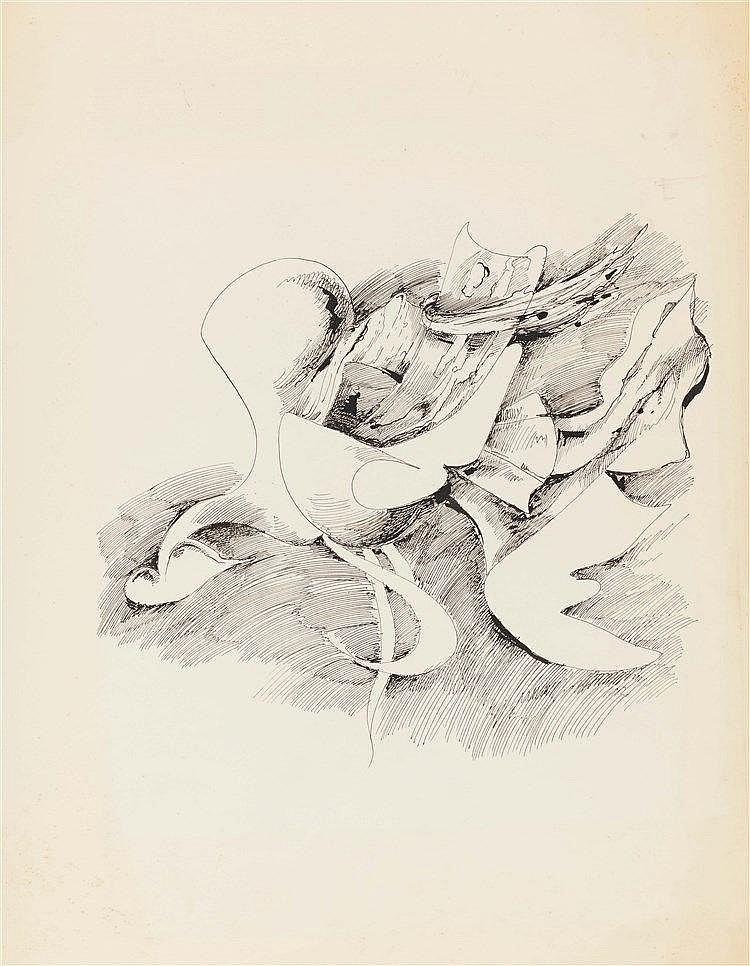 KURT SELIGMANN (1900-1962) COMPOSITION ABSTRAITE Encre de Chine sur pa