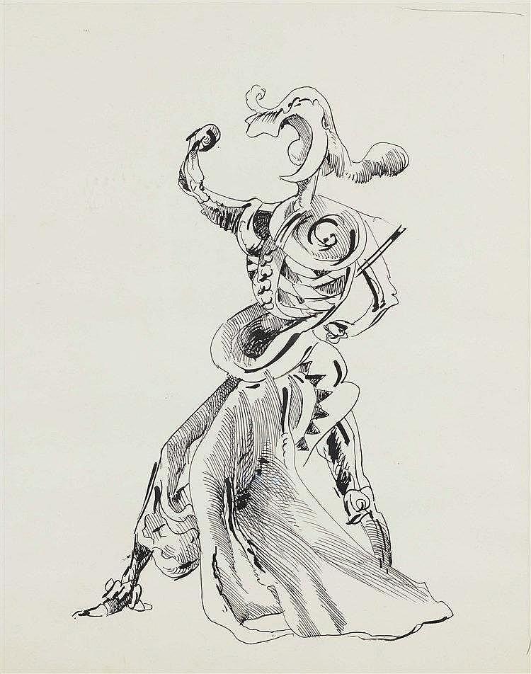 KURT SELIGMANN (1900-1962) PERSONNAGE Encre de Chine sur papier 49 x 3