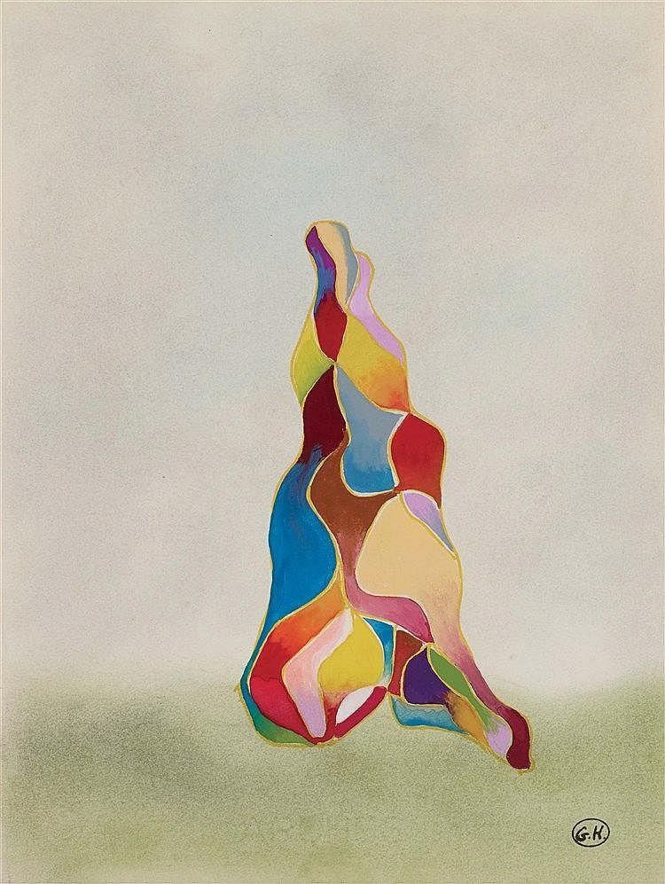 GEORGES HUGNET (1906-1974) ARLEQUIN Gouache sur papier Monogrammée en