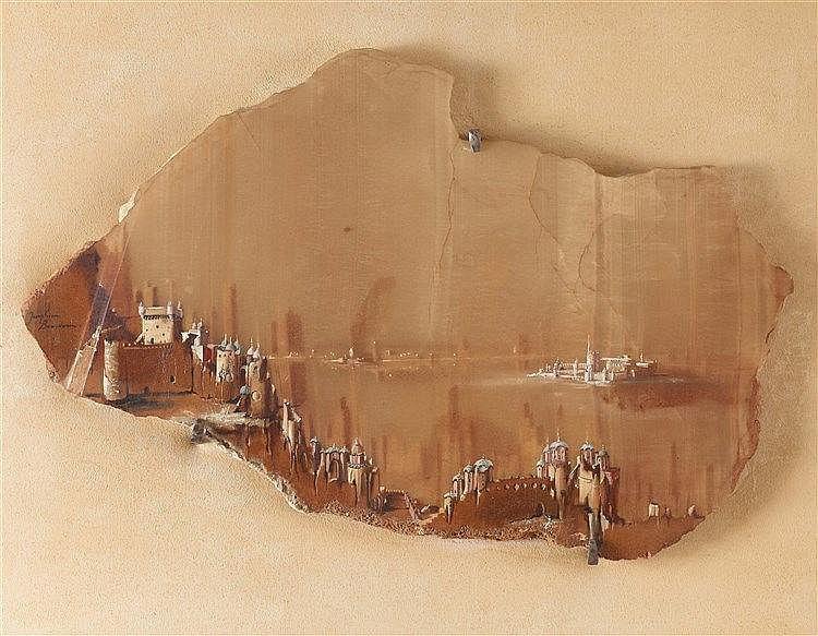 JOSEPHINE BEAUDOUIN (1909- ?) MIRAGE INDIEN N°31 Gouache sur marbre ap