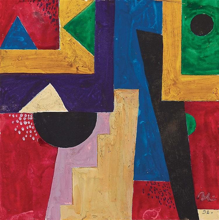 BORIS LACROIX (1902-1984) COMPOSITION, CIRCA 1930 Gouache sur papier