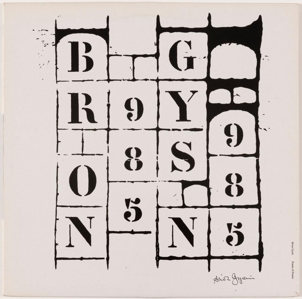 BRION GYSIN (1916-1986) Brion Gysin. Poems of Poems, 1997. Poème et poche