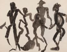 ENGLEBERT VAN ANDERLECHT (1918-1961) Sans titre (n°442), 1956. Lavis d'encre sur